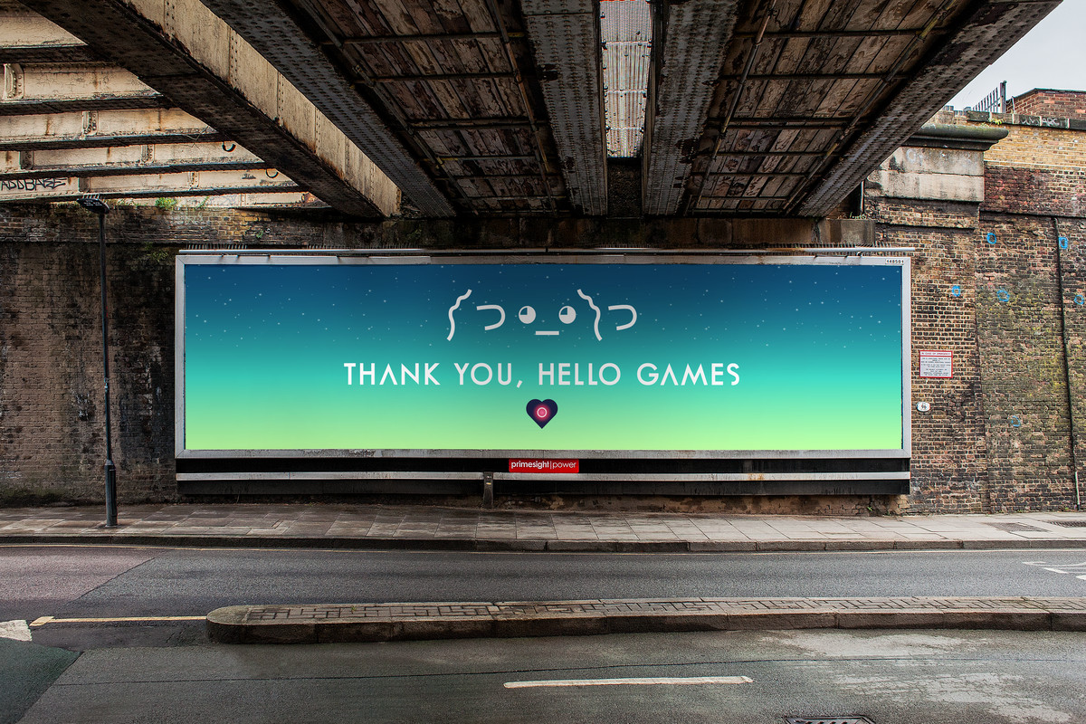 "Billboard saying ""Thank you, Hello Games"""