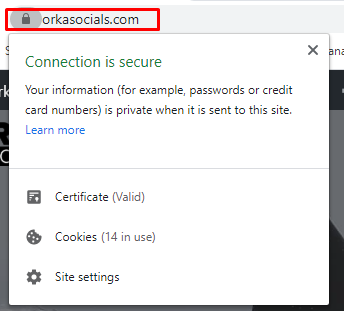 A site with implemented SSL certificate