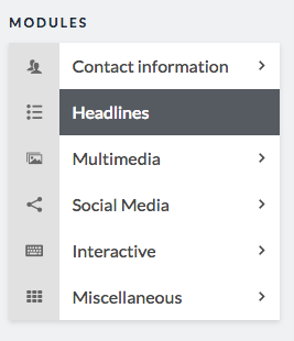 headlines module option in sidebar