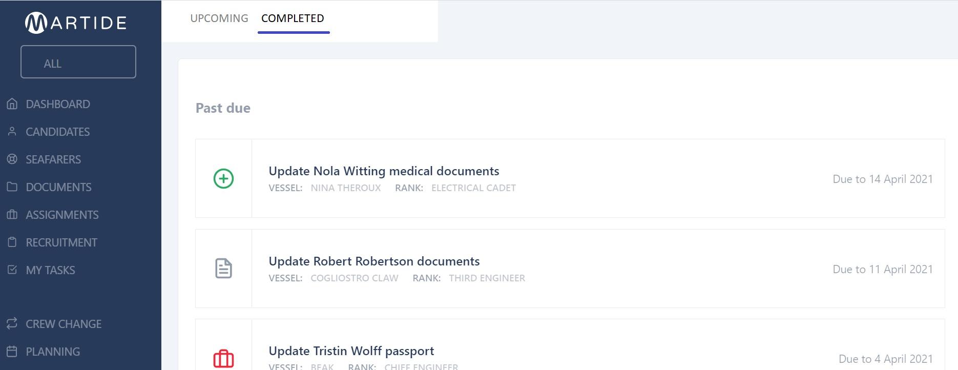 screenshot of Martide's maritime recruitment website showing the complete tasks