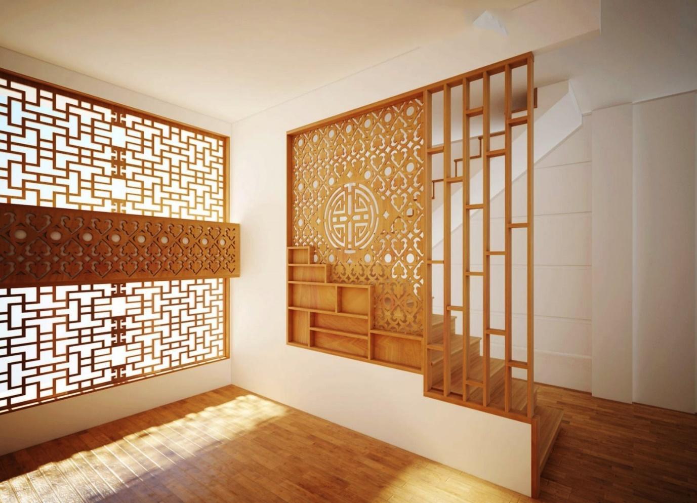 Vách ngăn gỗ tự nhiên để chia phòng khách và cầu thang