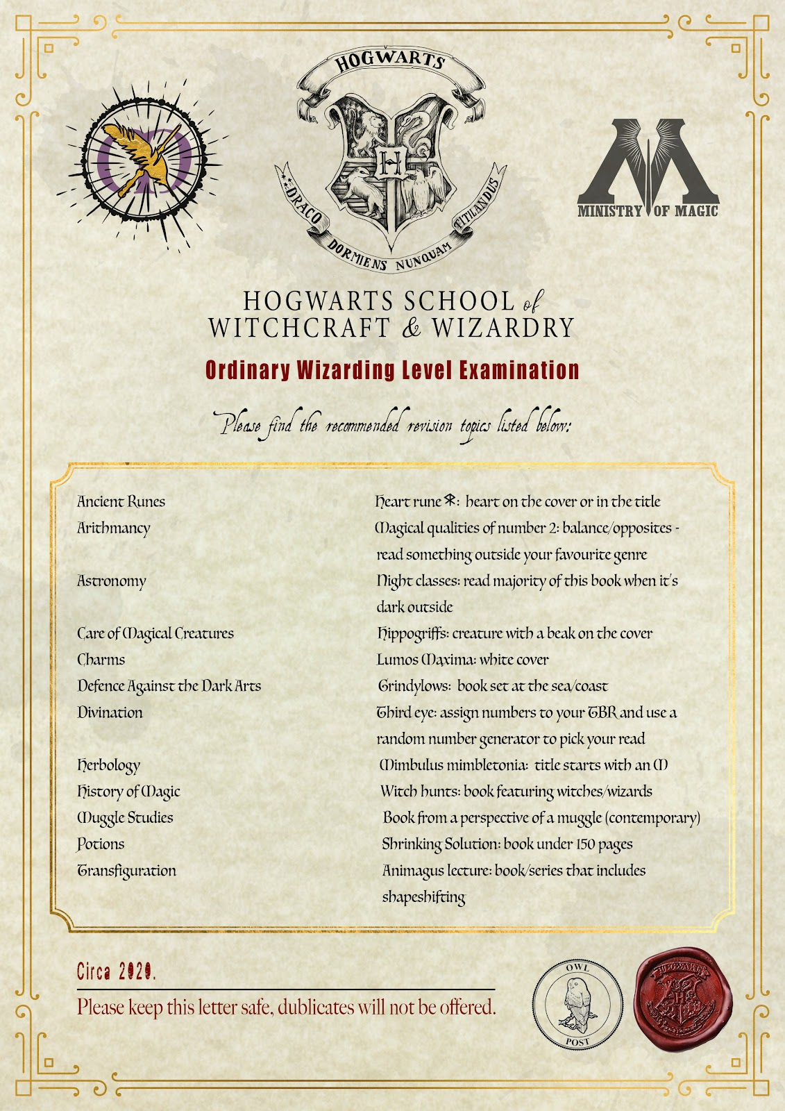 paperwork from Hogwarts listing the requirements of the OWLS exam