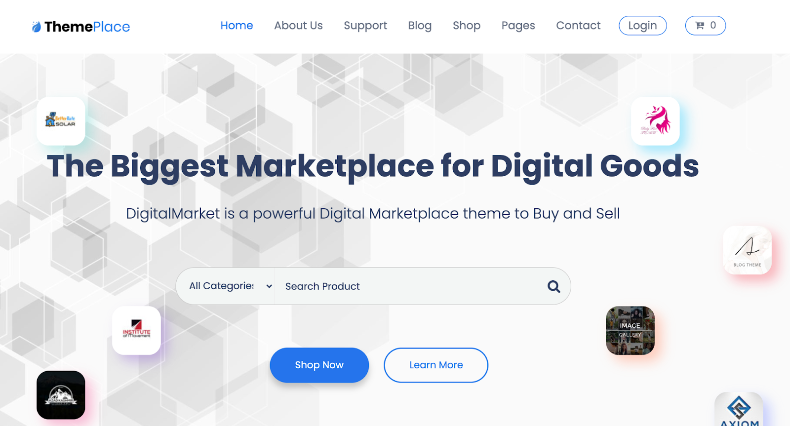 ThemePlace WordPress Marketplace theme homepage featuring the tagline
