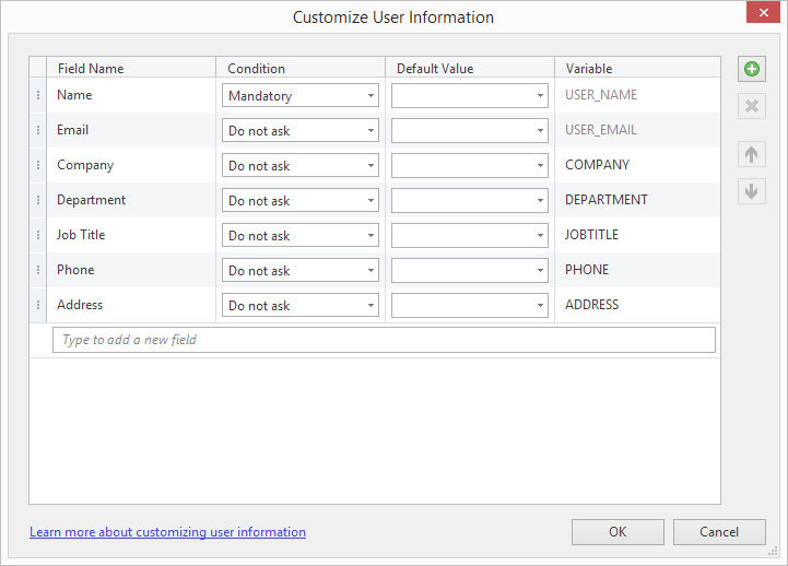 Customize User Information. Name Mandatory.