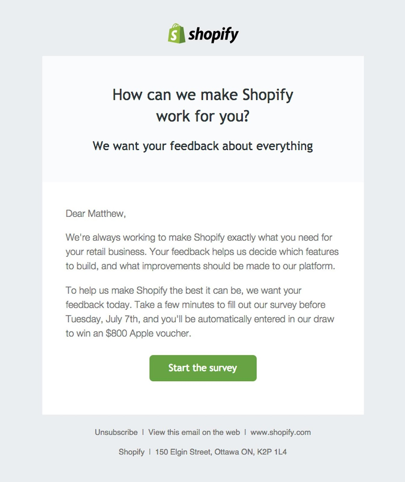 Shopify email example