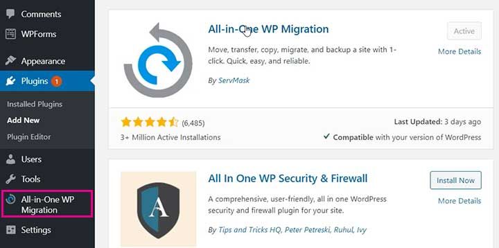How to Migrate WordPress Website  with  All-in-One WP Migration