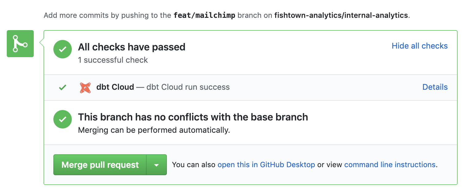 Screenshot of dbt Cloud showing that all checks have passed successfully, there are no conflicts with the base branch, and you can merge the pull request.
