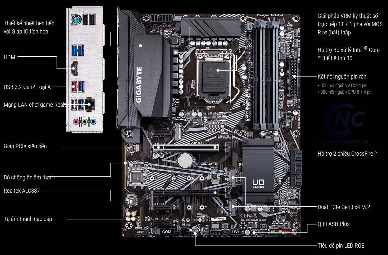 Mainboard GIGABYTE Z490 UD (Intel Z490, Socket 1200, ATX, 4 khe RAM DDR4)