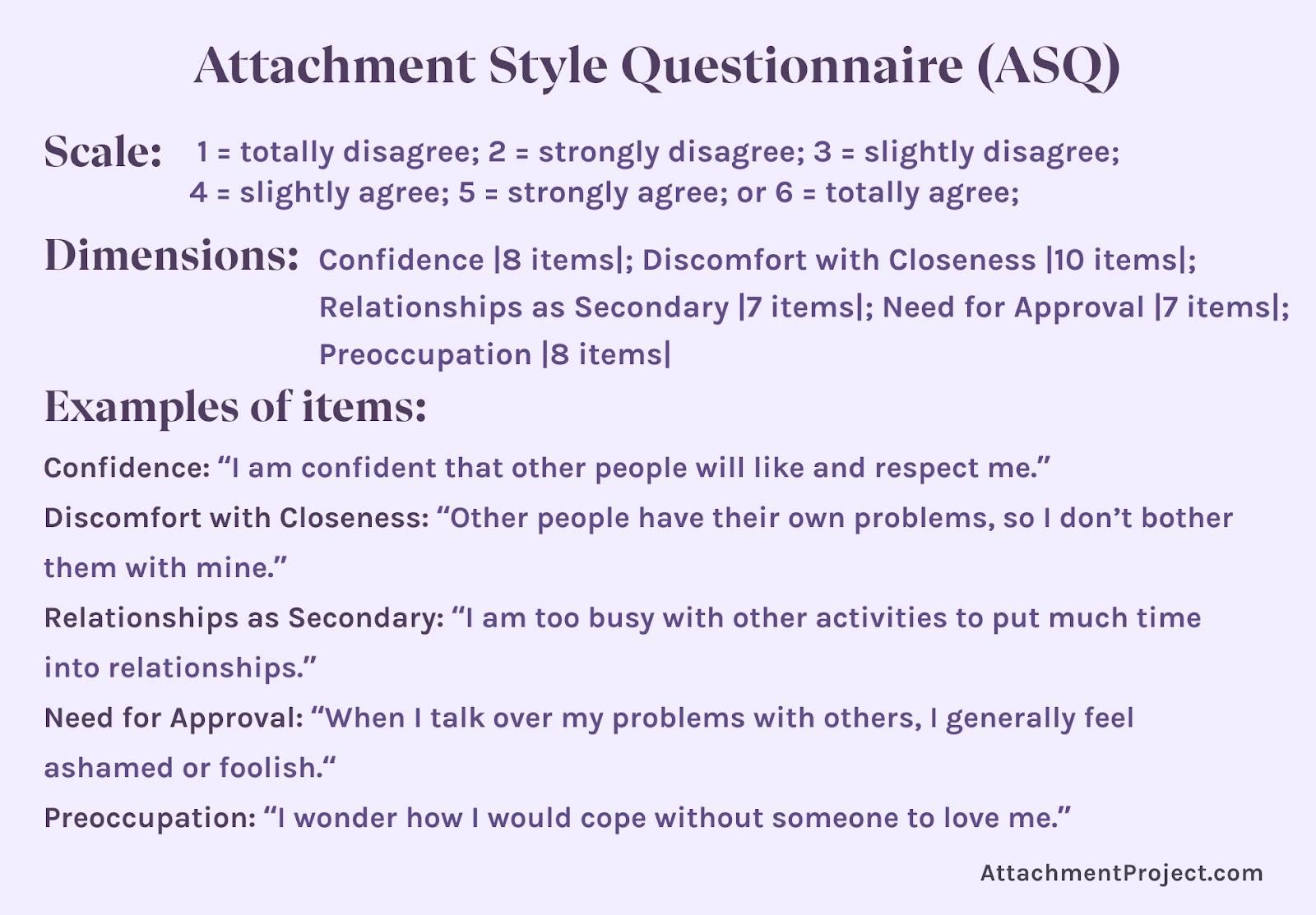 Attachment Style Tests - Attachment Style Questionnaire (ASQ)