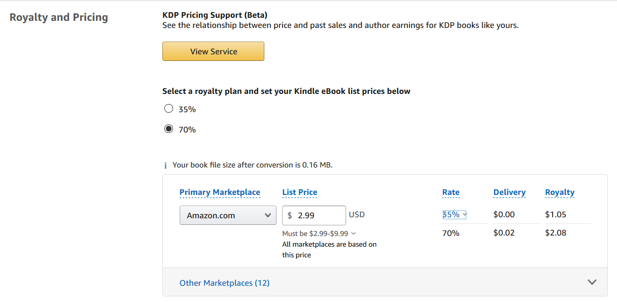 Step 3 for how to publish on Amazon KDP in 2020