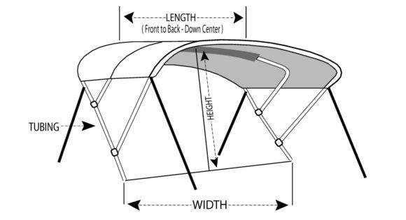 Westland Bimini Tops Dimensions Diagram