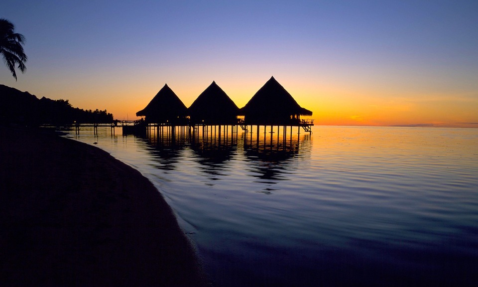 Tahiti, Water, Sunset, Tropical Luxury, Travel, Beach