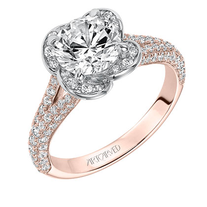 KATALINA Contemporary two tone diamond engagement ring with pave diamond accents within floral halo and diamond accented split shank in rose gold