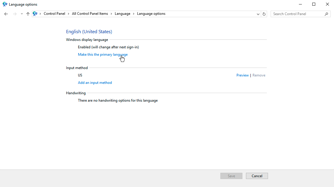 Как изменить язык в Windows server и выбрать английский