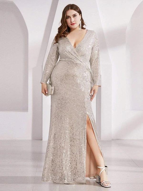 Shiny-VNeck-Plus-Size-Long-Sleeve-Sequin-Evening-Dress