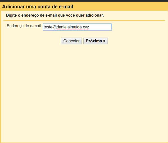 tela para digitar endereço de email na adição de nova conta no gmail