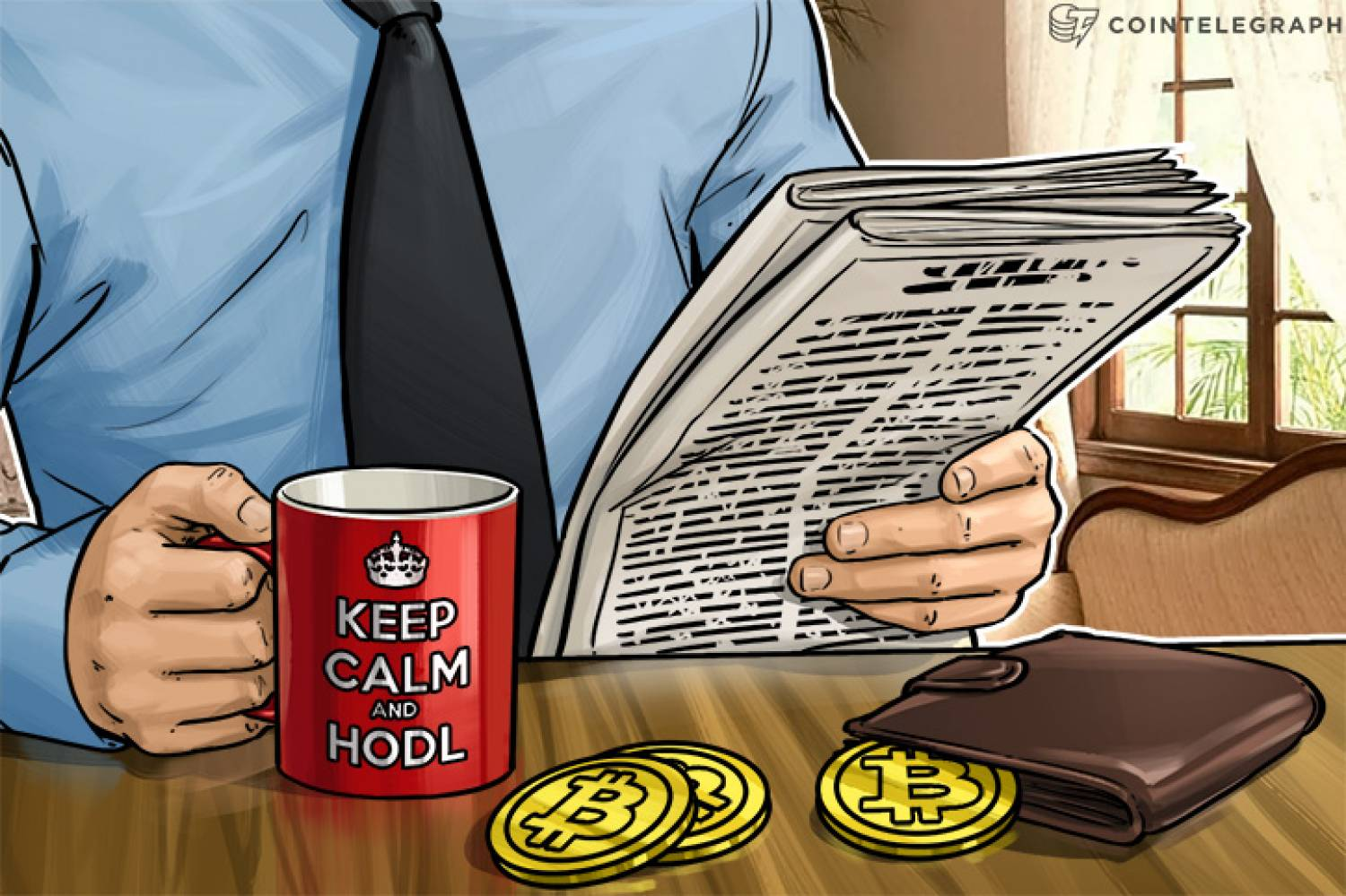 A man drinking coffee in a 'Keep calm and HODL' cup