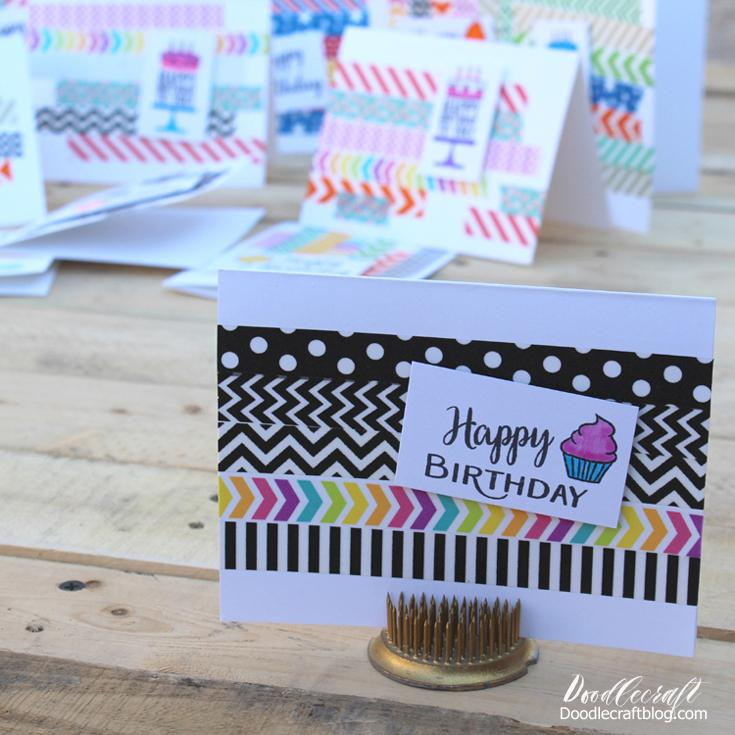 Simple Washi Tape birthday card from Doodlecraft. See all the Best Crafts of 2018 from more of your favorite bloggers at Halfpint Design.