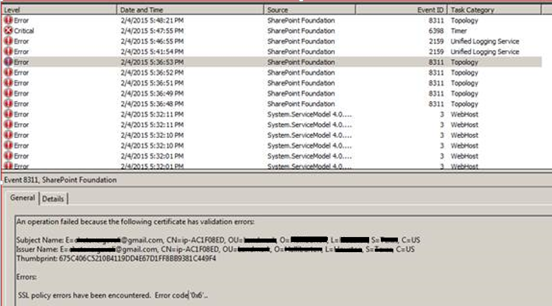 Error in Event viewer