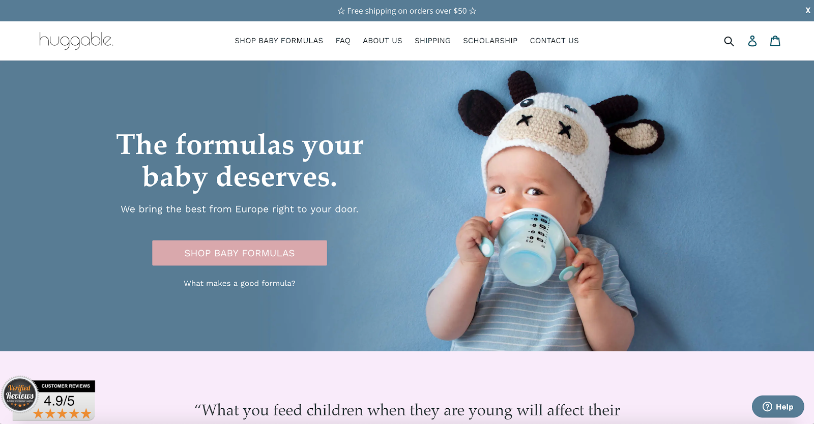 photo of huggable's website - the best place to buy european baby formulas in the us