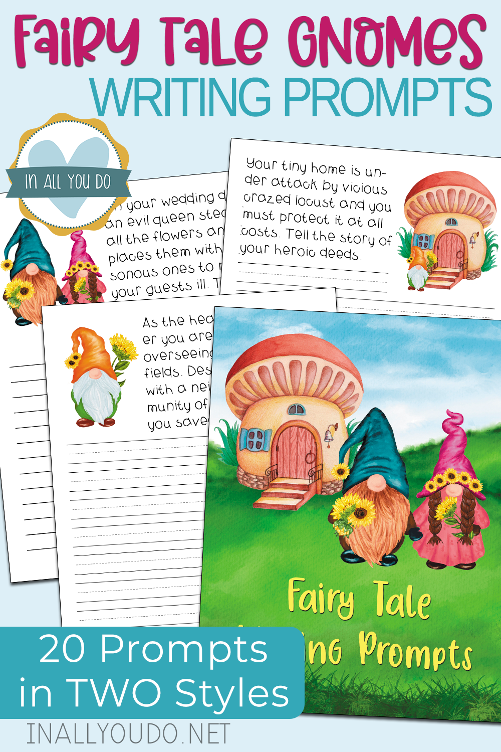 free Fairy Tale Gnomes homeschool curriculum writing prompts