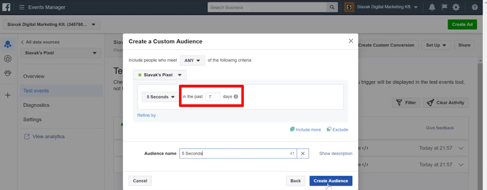 Create a custom audience of users who stayed for longer than five seconds in the past week by selecting for 5 Seconds delayed pixel events that fired in the past 7 days