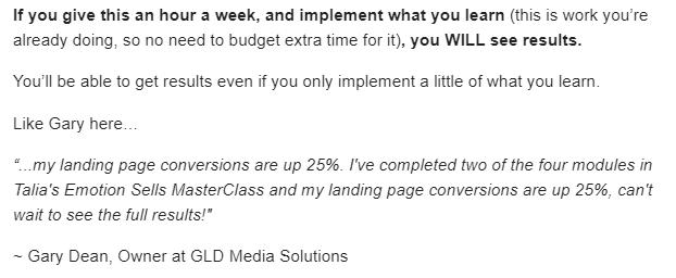 Talia Wolf uses a newsletter to display b2b testimonials.