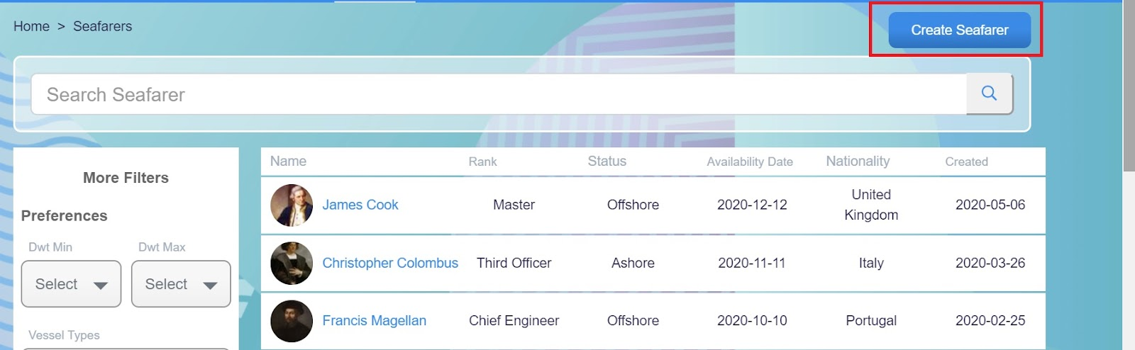 Screenshot of Martide website showing the seafarer page