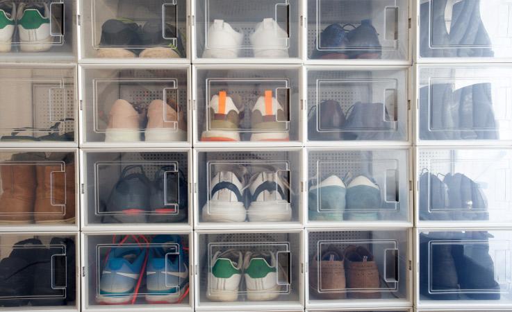 A shoe organizer in a garage