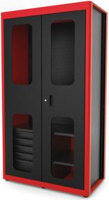 Uma imagem contendo monitor, armário, vermelho, trem  Descrição gerada automaticamente