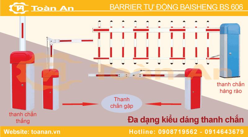 Các kiểu thanh chắn của barrier tự động baiseng bs 606.