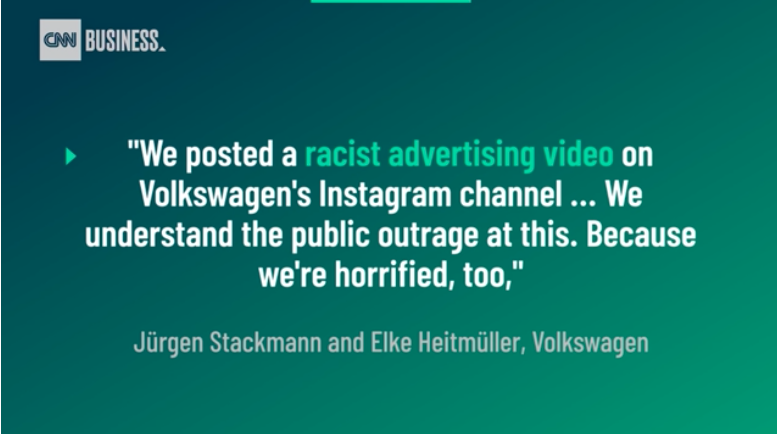 Volkswagon racist ad bad ads brand fails brand failures of 2020
