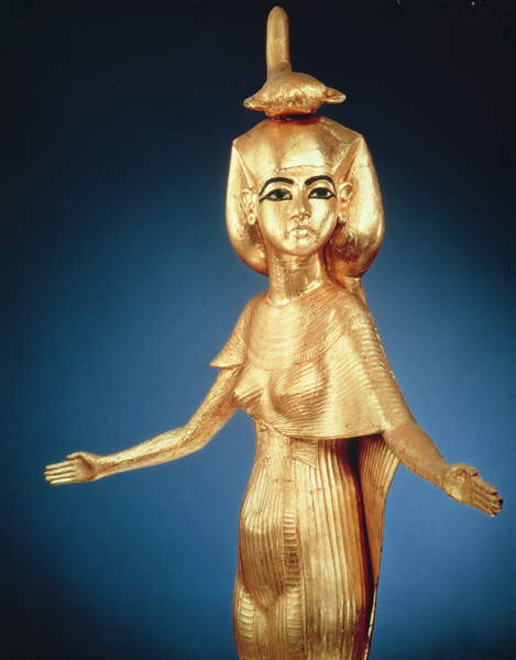 Image of a Detail of the goddess Selket from the canopic shrine, from the Tomb of Tutankhamun, New Kingdom (gilded wood), Egyptian 18th Dynasty (c.1567-1320 BC) / Egyptian