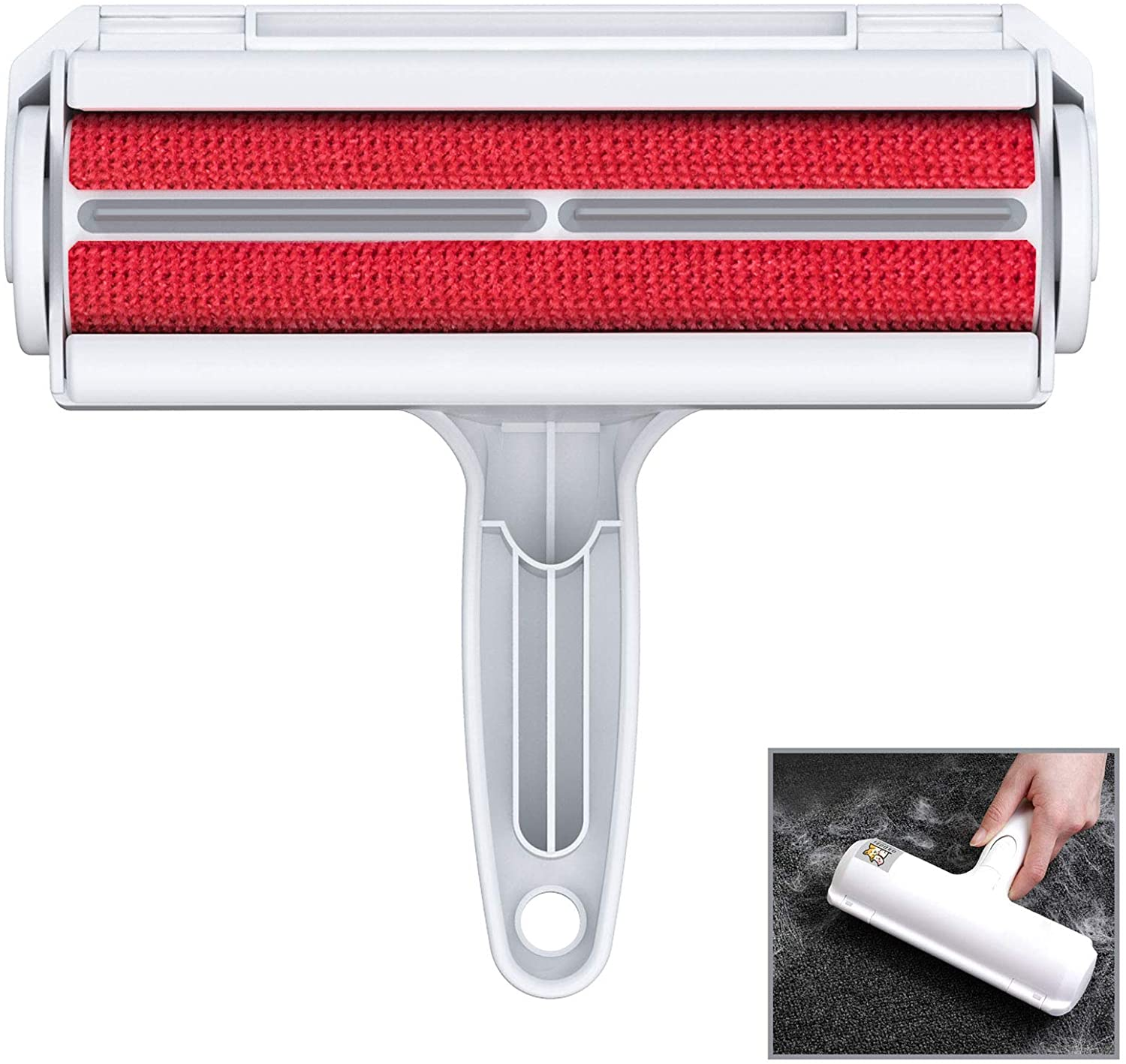 Red and white lint roller alternative