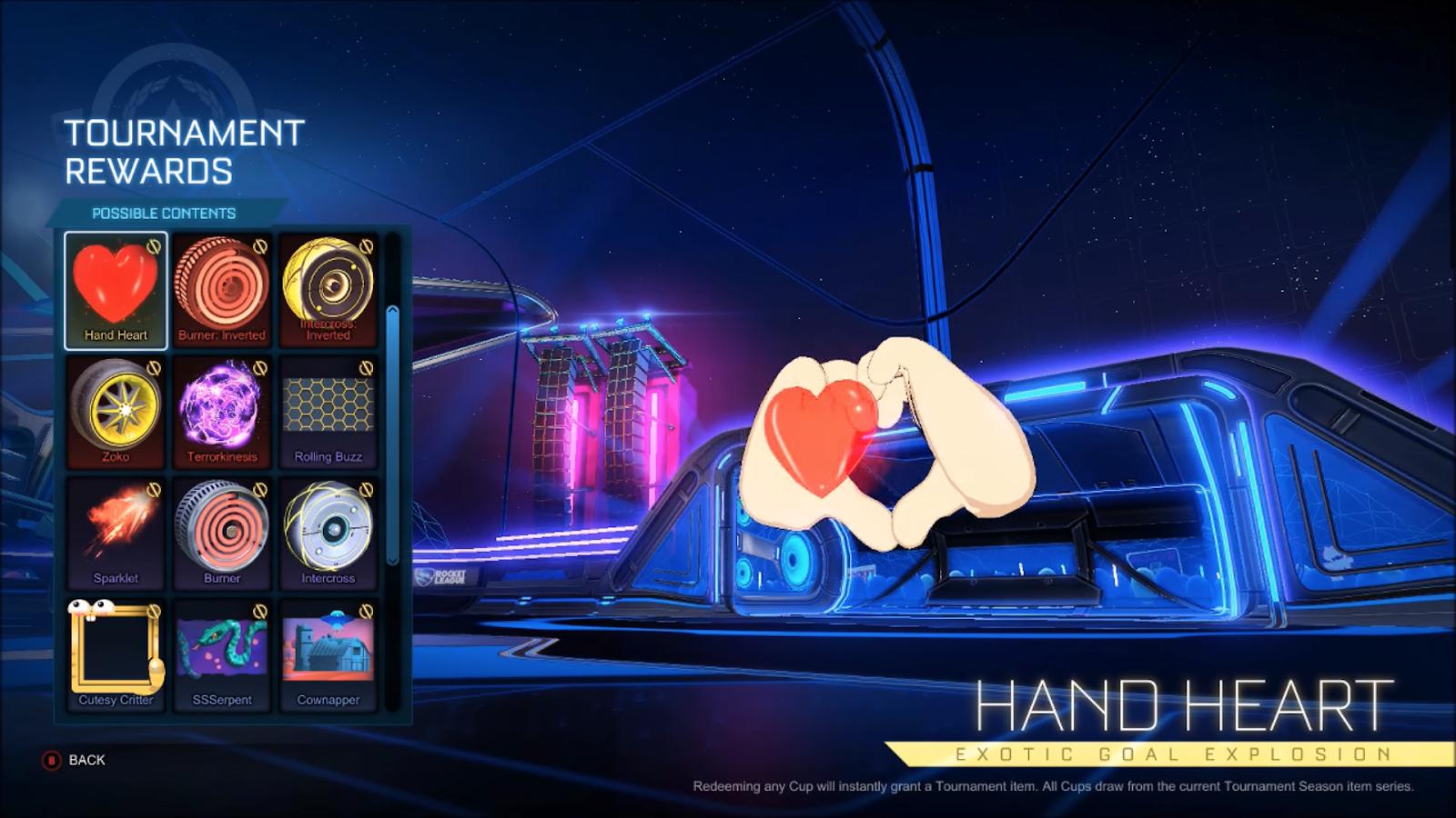 rocket league tournament reward hand heart