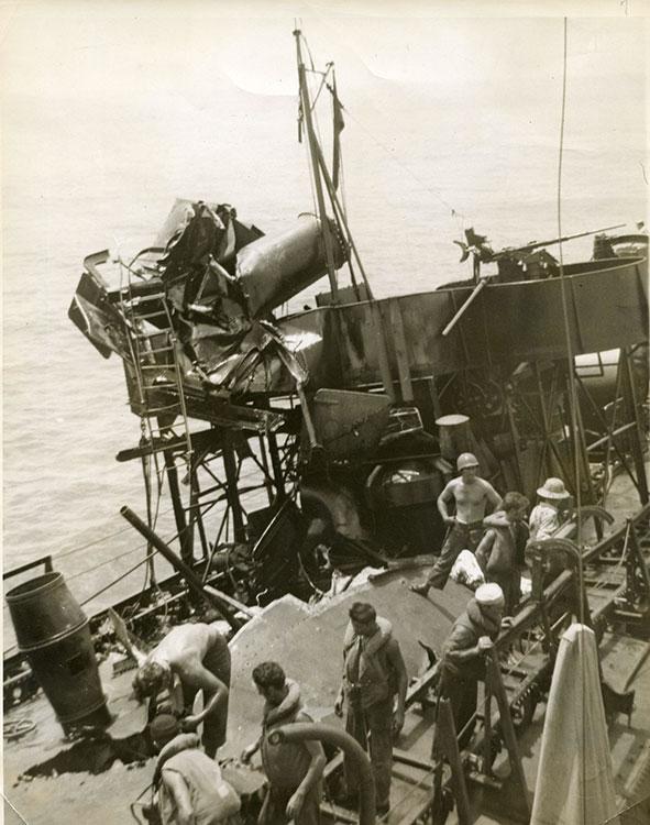 Montgomery crew members assess damage
