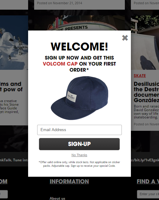 Volcom email signup popup