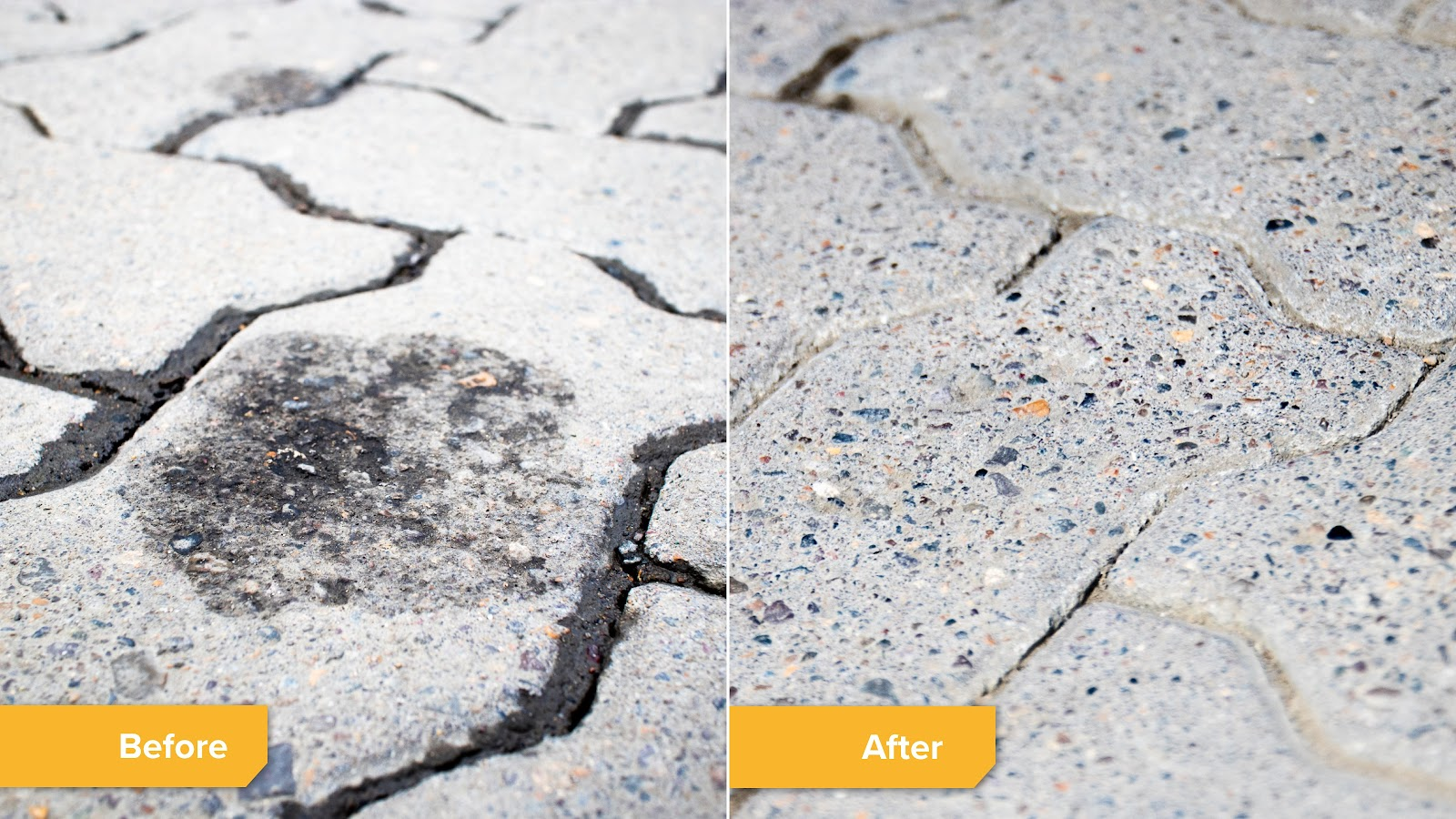 Before and after of an oil spot removal on paving stones.