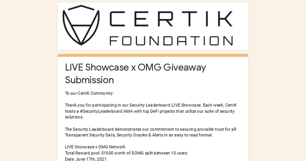 LIVE Showcase x OMG Giveaway Submission