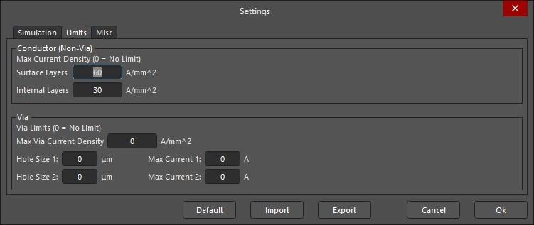 Altium PDN Analyzer simulation settings changing max current density