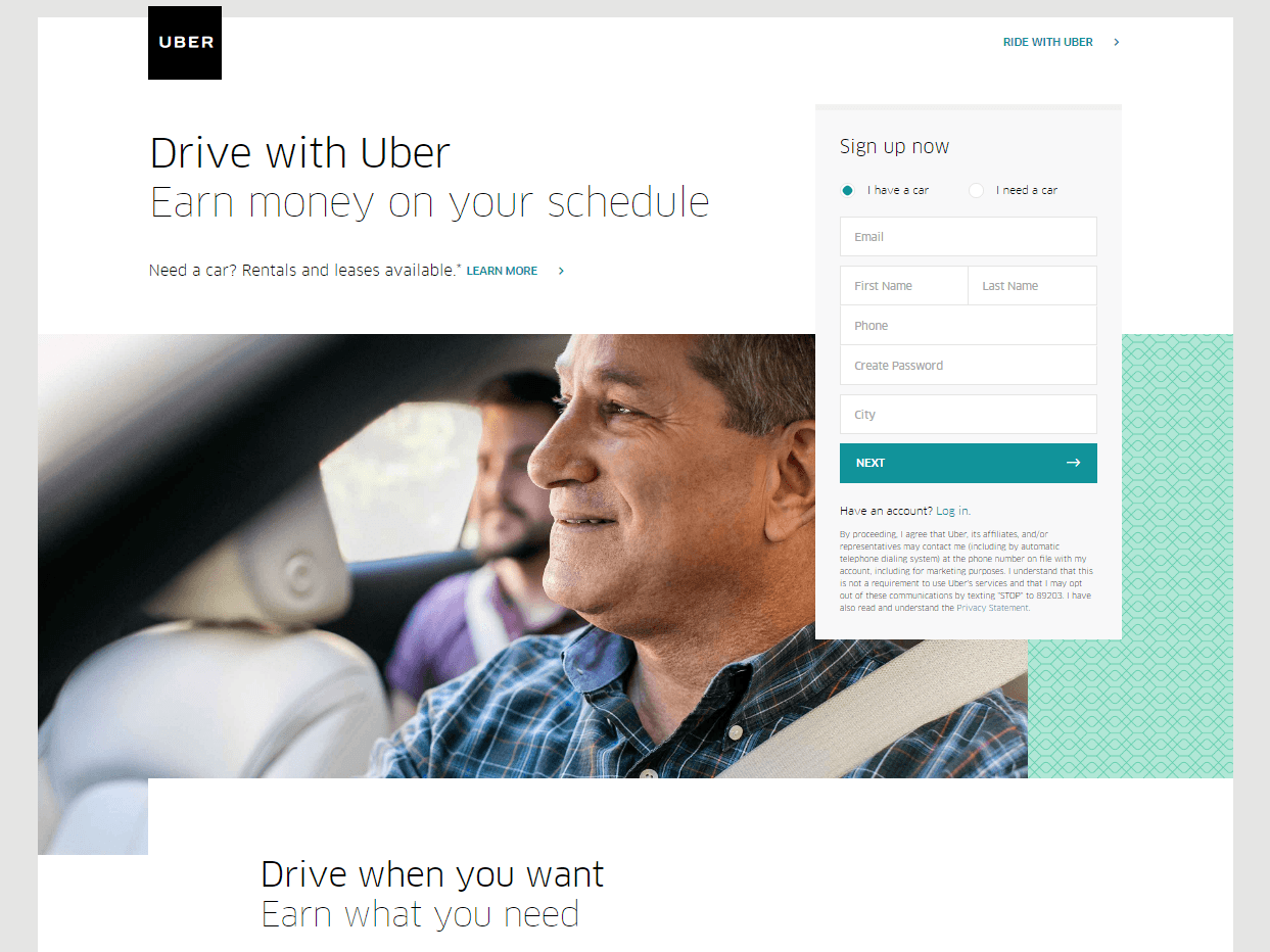 Great landing pages Uber