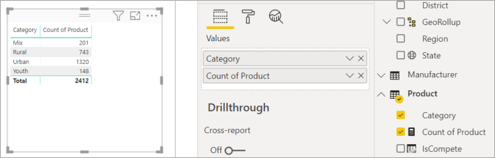 Screenshot of the Fields pane with the Values well called out.