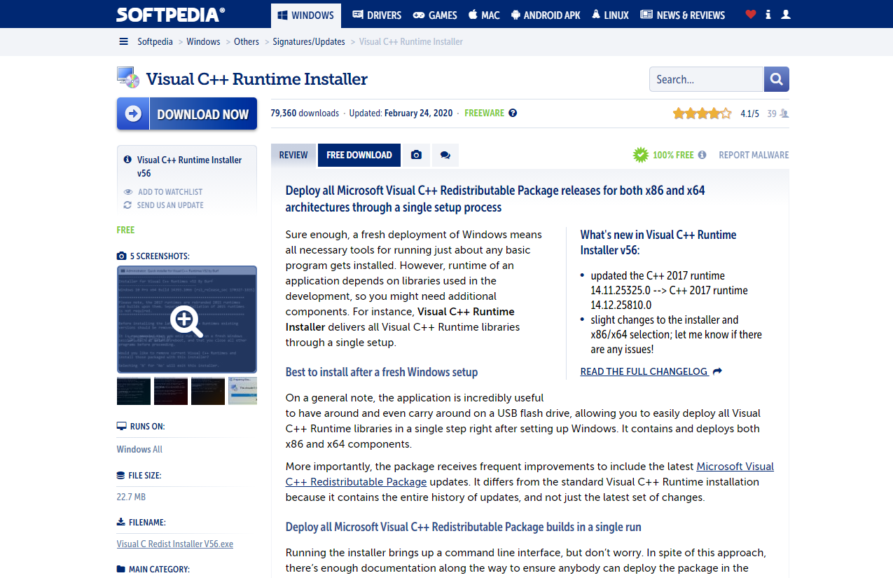 """Go to the Softpedia Runtime Installer page and click on """"Free Download."""""""