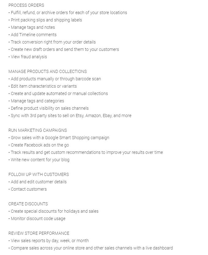 Shopify app description