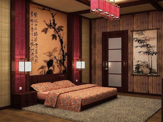 Bamboo wall and a bamboo painting in bedroom