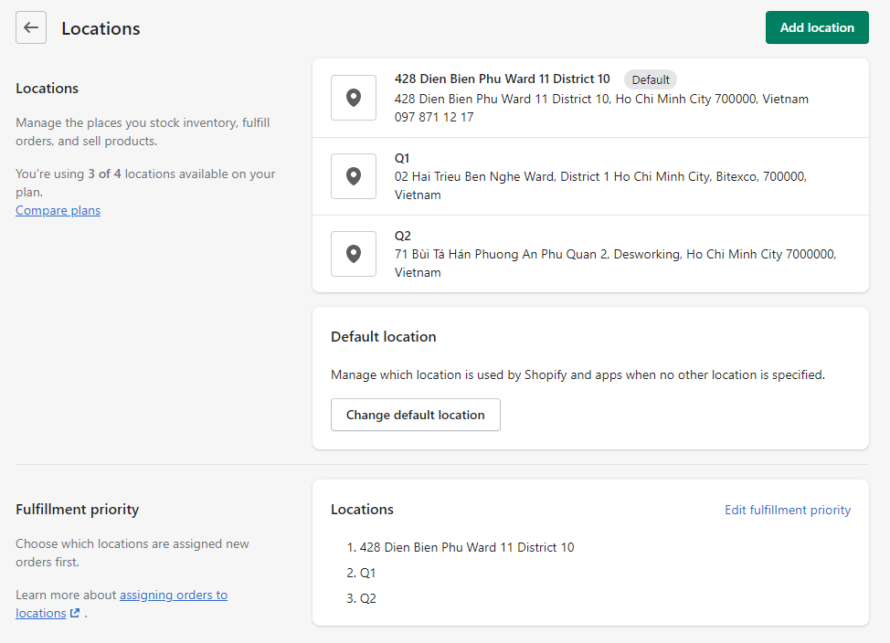 shopify multiple shipping locations setting