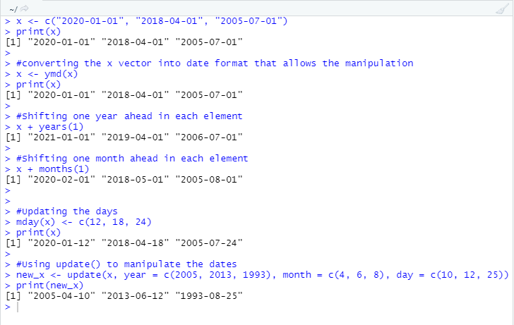 This image shows how the date manipulation happens using different functions that are present under the lubridate package.