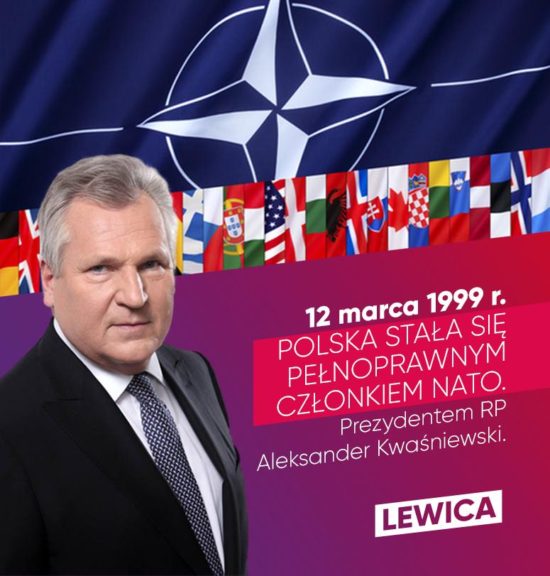 """Obraz może zawierać: 1 osoba, tekst """"12 marca 1999 r. POLSKA NATO. STAŁA SIĘ CZŁONKIEM Prezydentem RP Aleksander Kwaśniewski. ski. LEWICA"""""""