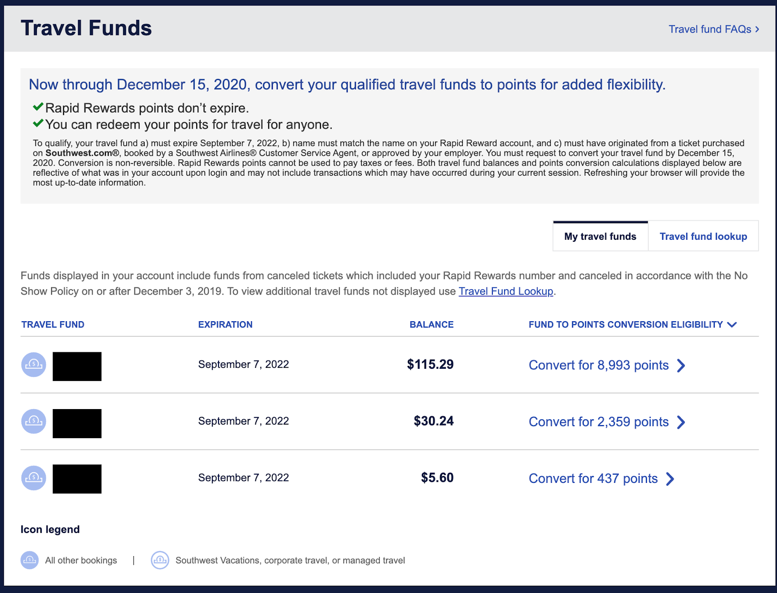 Screenshot of Southwest Travel Funds