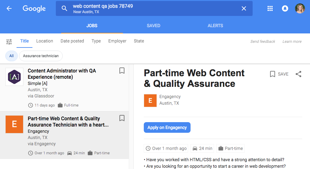 example Google job search displaying job postings from Jobs schema
